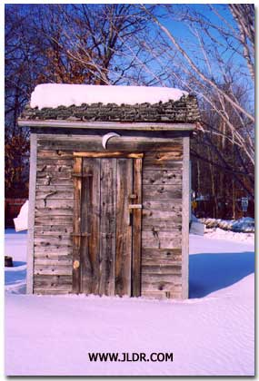 Another close up of the Classic Winter Outhouse