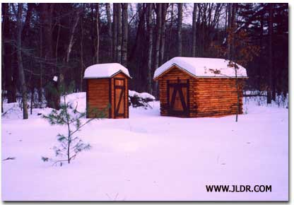 Log Cabin Outhouse and Shed