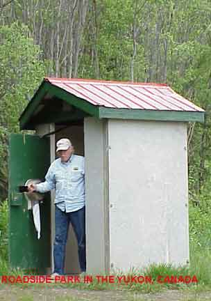 Roadside park Outhouse in the Yukon, Canada