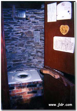 Inside the historic New Jersey Outhouse