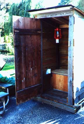 Inside shot of the biker's homemade outhouse