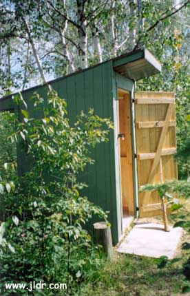Side view of the Alberta Canada Outhouse
