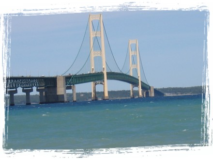 Closeup of the 5 mile long Mackinac bridge
