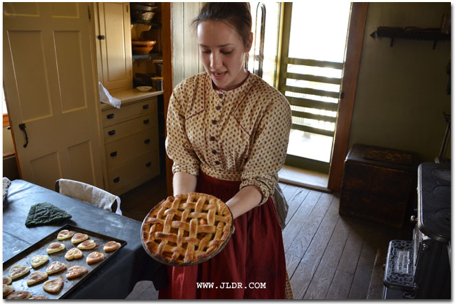 Peach pie baked in the coal oven in Harvey Firestone's house in Greenfield Village Dearborn Michigan