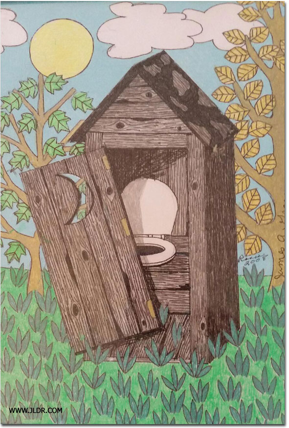 Nice drawing of an Outhouse using Jell Markers