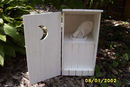 Put your kleenex tissue box in this Outhouse