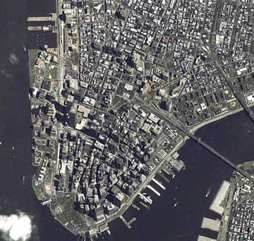 View from space of downtown Manhatten before September 11, 2001