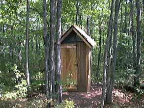 Front View of a Home-Built Outhouse in Quebec