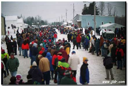 Another shot of the crowd viewing the Trenary, MI Outhouse Races