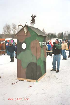 A hunting blind outhouse