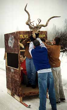 Finishing touches on Buck's Head Outhouse