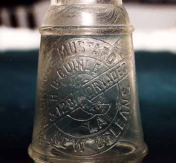 Close-up of New Orleans Creole Mustard  Bottle Recovered from an Outhouse Digging