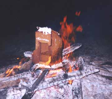The Gingerbread Outhouse During the Burning