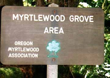 The Myrtlewood Grove Area sign