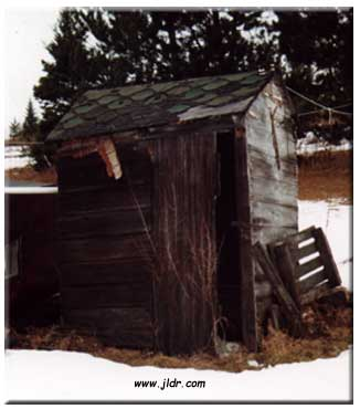 An old leaning outhouse in the UP