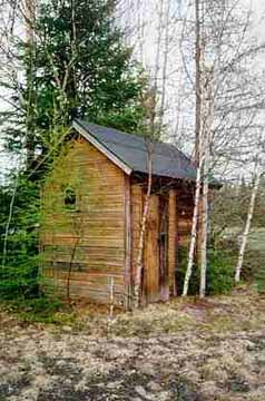 Front Left View of Nestoria, MI Outhouse