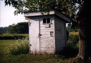Front view of the Peshtigo Outhouse