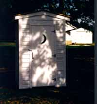 Front View of the Haven's Homestead Outhouse