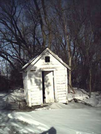A snowy day at the Rosendale Church Outhouse