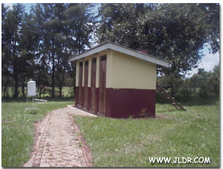 Side view of the Uganda Outhouses